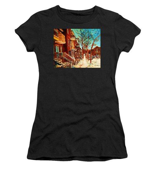 Winter Staircase Women's T-Shirt (Junior Cut) by Carole Spandau