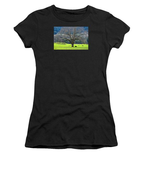 Winter Tree With Cows By The Umpqua River Women's T-Shirt (Athletic Fit)