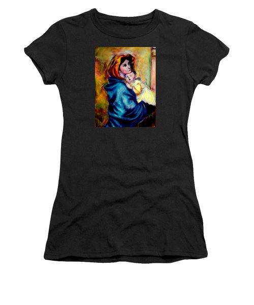 Women's T-Shirt (Junior Cut) featuring the pastel Mondonna Of The Street By Roberto Ferrizzi, Rendition In Pastel Antonia Citrino,  Sold.        by Antonia Citrino