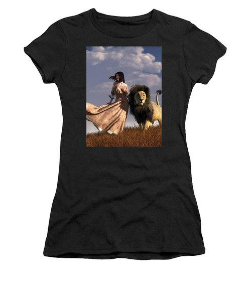 Woman With African Lion Women's T-Shirt