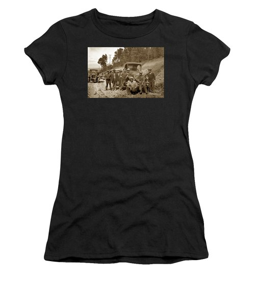 Workers On Highway One Monterey Carmel Hill California 1929 Women's T-Shirt (Athletic Fit)