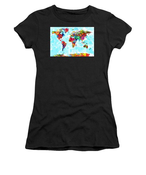 World Map Spattered Paint Women's T-Shirt