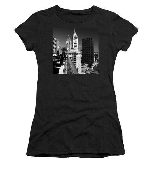 Wrigley Clock Tower Skyline Black White Women's T-Shirt