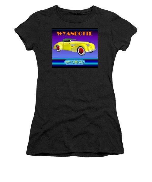 Women's T-Shirt (Junior Cut) featuring the digital art Wyandotte 1937 Cord 812 by Stuart Swartz