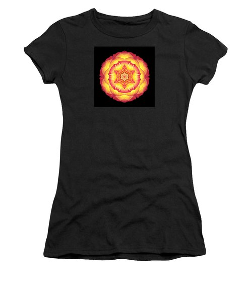 Yellow And Red Rose IIi Flower Mandala Women's T-Shirt