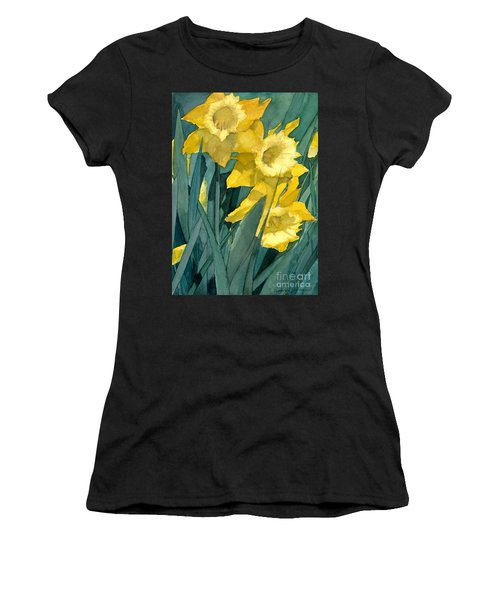 Watercolor Painting Of Blooming Yellow Daffodils Women's T-Shirt