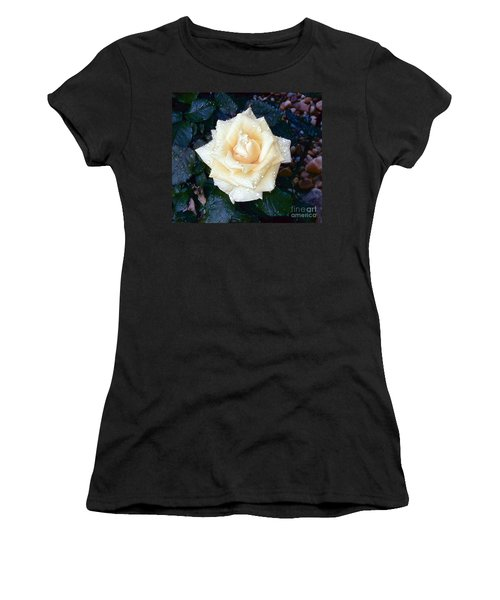 Women's T-Shirt (Junior Cut) featuring the photograph Yellow Rose At Dawn by Alys Caviness-Gober
