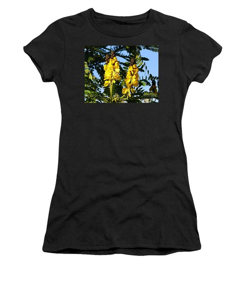 Women's T-Shirt (Junior Cut) featuring the photograph Yellow Twins by Lew Davis