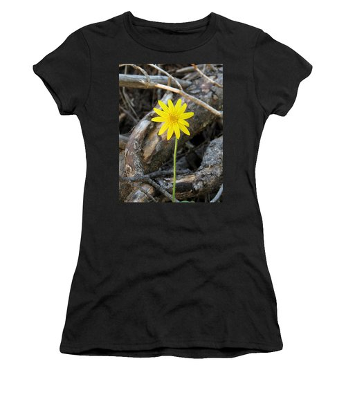 Women's T-Shirt (Junior Cut) featuring the photograph Yellow Wildflower by Laurel Powell