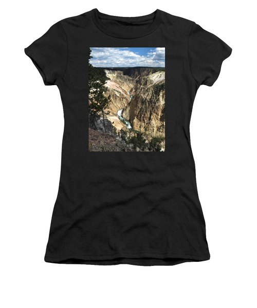 Women's T-Shirt (Junior Cut) featuring the photograph Yellowstone Canyon by Laurel Powell