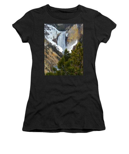 Women's T-Shirt (Junior Cut) featuring the photograph Yellowstone Lower Falls In Spring by Michele Myers