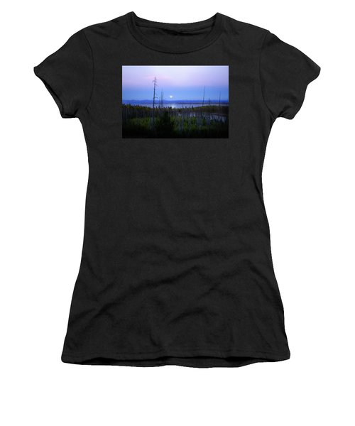 Women's T-Shirt (Junior Cut) featuring the photograph Yellowstone Moon by Ann Lauwers