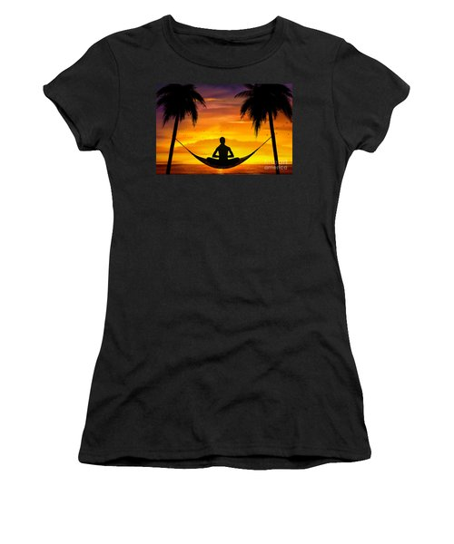 Yoga At Sunset Women's T-Shirt (Athletic Fit)