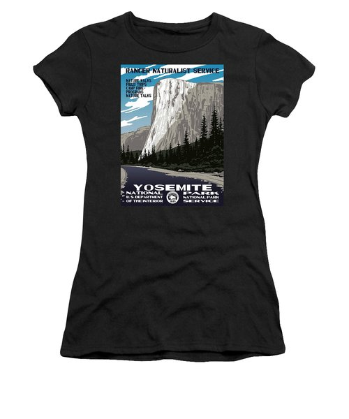 Yosemite National Park Vintage Poster 2 Women's T-Shirt (Junior Cut) by Eric Glaser
