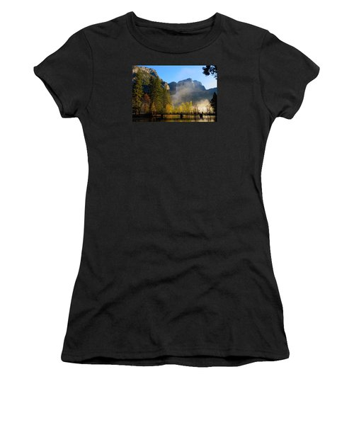 Women's T-Shirt (Junior Cut) featuring the photograph Yosemite River Mist by Duncan Selby