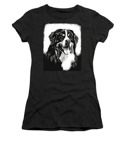 Women's T-Shirt (Junior Cut) featuring the drawing Bernese Mountain Dog by Rachel Hames