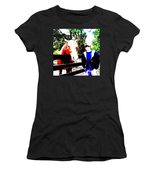 Women's T-Shirt (Junior Cut) featuring the photograph a Boy and his Horse by George Pedro