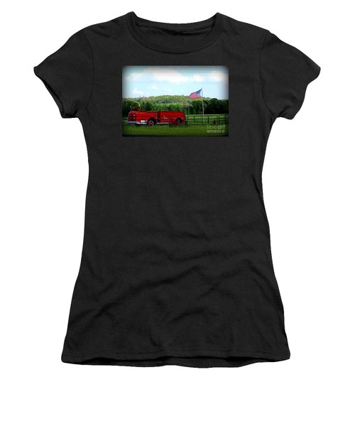 Women's T-Shirt (Junior Cut) featuring the photograph A Tribute To The Fireman by Kathy  White