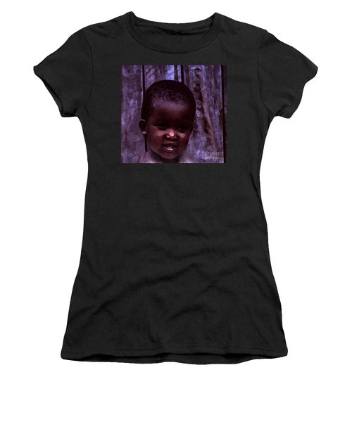 Women's T-Shirt (Junior Cut) featuring the pyrography African Little Girl by Lydia Holly