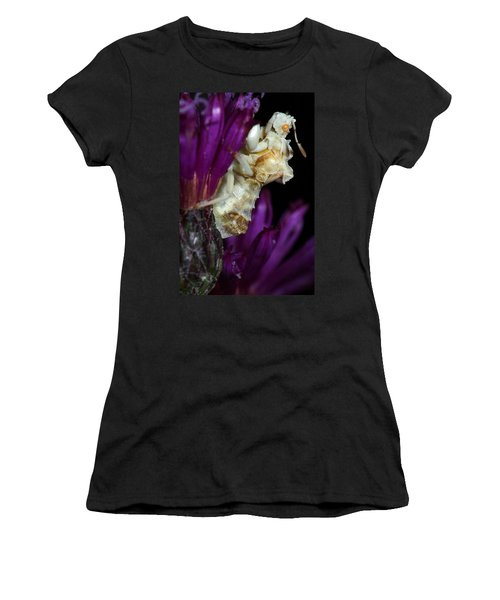 Women's T-Shirt (Junior Cut) featuring the photograph Ambush Bug On Ironweed by Daniel Reed