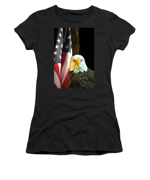 Women's T-Shirt (Junior Cut) featuring the photograph American Eagle And American Flag by Randall Branham