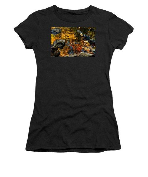 Women's T-Shirt (Junior Cut) featuring the photograph Autumn Reflections by Cheryl Baxter