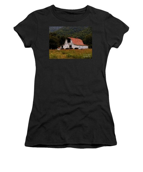 Women's T-Shirt (Junior Cut) featuring the photograph Barn In Mountains by Lydia Holly