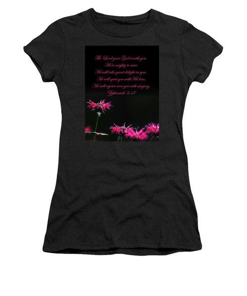 Women's T-Shirt (Junior Cut) featuring the photograph Bee Balm And Bible Verse by Randall Branham