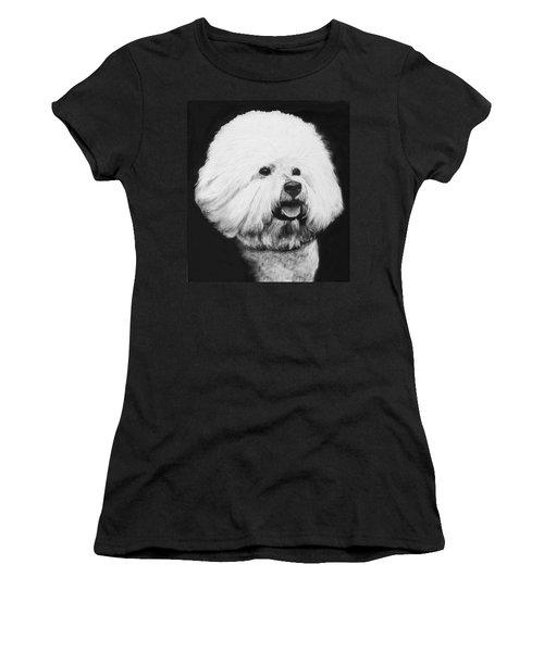 Women's T-Shirt (Junior Cut) featuring the drawing Bichon Frise by Rachel Hames