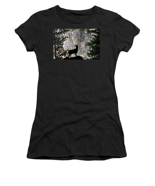 Women's T-Shirt (Junior Cut) featuring the photograph Big Horn Sheep Silhouette by Dan Friend