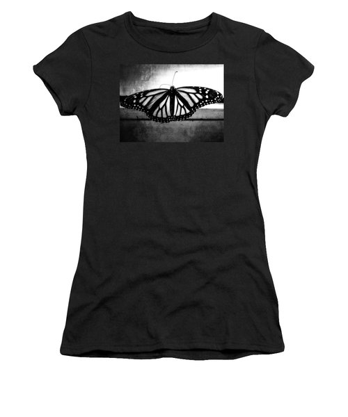 Women's T-Shirt (Junior Cut) featuring the photograph Black Butterfly by Julia Wilcox
