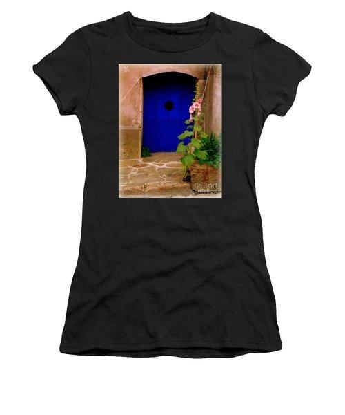 Blue Door And Pink Hollyhocks Women's T-Shirt