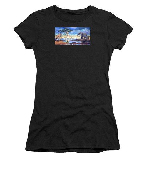 Botswana Watering Hole Women's T-Shirt (Athletic Fit)