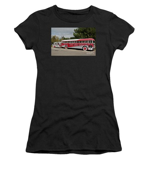 Women's T-Shirt (Junior Cut) featuring the photograph Buddy Holly 1958 Tour Of Stars Bus Art Prints by Valerie Garner