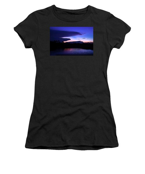 Women's T-Shirt (Junior Cut) featuring the photograph Clouded Sunset Over The Tomoka by DigiArt Diaries by Vicky B Fuller