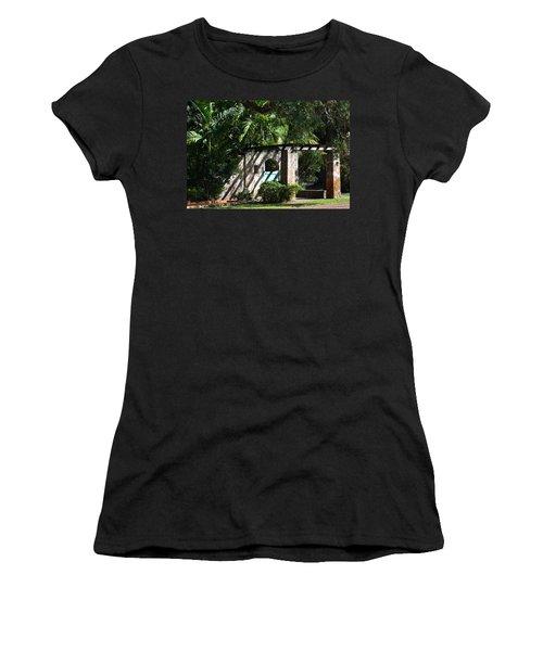 Women's T-Shirt (Junior Cut) featuring the photograph Coral Gables Gate by Ed Gleichman