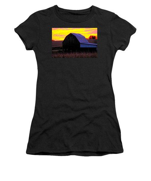 Women's T-Shirt (Junior Cut) featuring the photograph Cornfield Barn Sky by Randall Branham