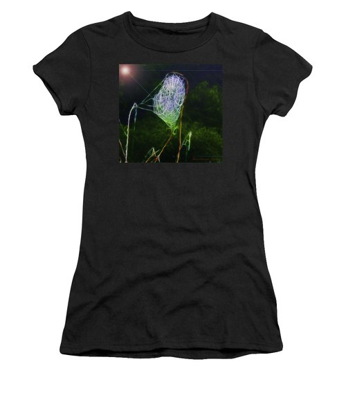 Women's T-Shirt (Junior Cut) featuring the photograph Electric Web In The Fog by EricaMaxine  Price