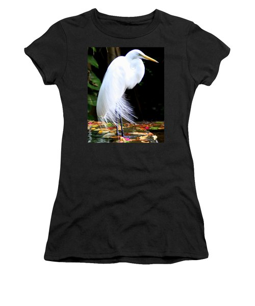 Elegant Egret At Water's Edge Women's T-Shirt (Athletic Fit)