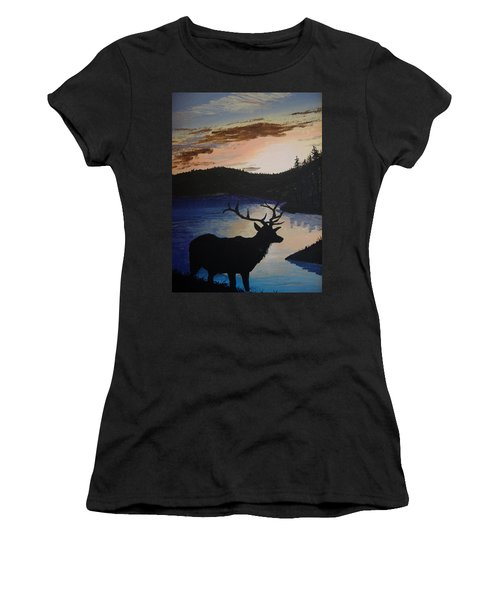 Women's T-Shirt (Junior Cut) featuring the painting Elk At Sunset by Norm Starks