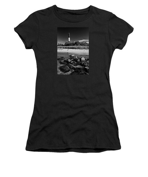 Fire Island In Black And White Women's T-Shirt (Athletic Fit)