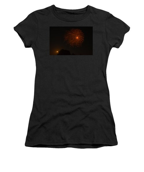 Women's T-Shirt (Junior Cut) featuring the photograph Fireworks And Wildfire Moon by Tom Gort