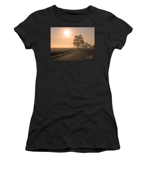 Foggy Sunrise On Soybean Field Women's T-Shirt (Athletic Fit)