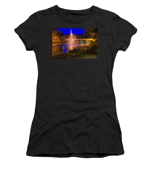 Fountain And Bridge At Night Women's T-Shirt (Athletic Fit)