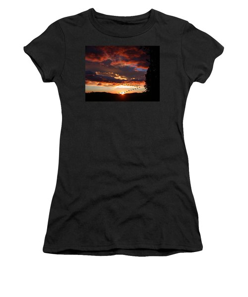 Geese Flying At Sunset Women's T-Shirt