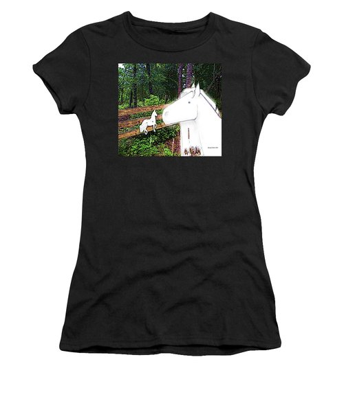 Women's T-Shirt (Junior Cut) featuring the drawing Ghost Horse by George Pedro
