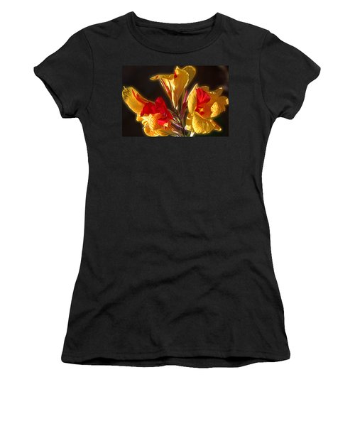 Women's T-Shirt (Junior Cut) featuring the photograph Glowing Iris by DigiArt Diaries by Vicky B Fuller