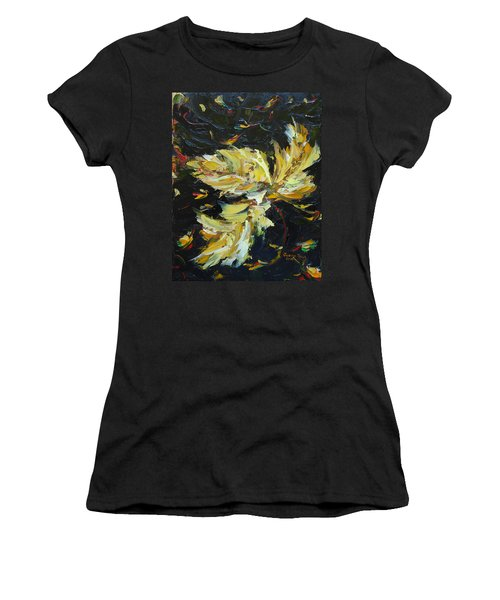 Women's T-Shirt (Athletic Fit) featuring the painting Golden Flight by Judith Rhue