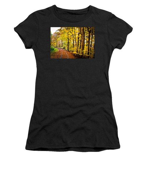 Golden Rails Women's T-Shirt (Junior Cut) by Sara Frank