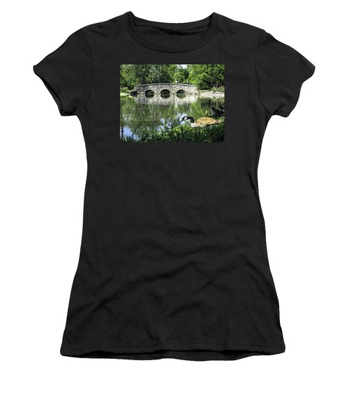 Women's T-Shirt (Junior Cut) featuring the photograph Goose And Bridge At Silver Lake by Tom Gort